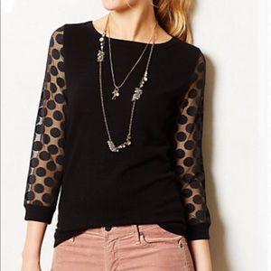 Anthropologie Sparrow Sheer Dot Sleeve Sweater